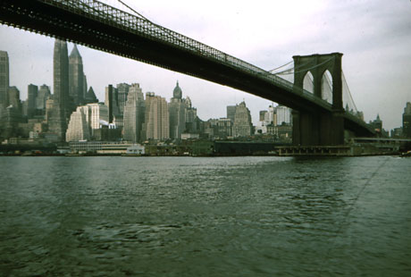 Interesting to see the Brooklyn Bridge and New York skyline circa 1956.