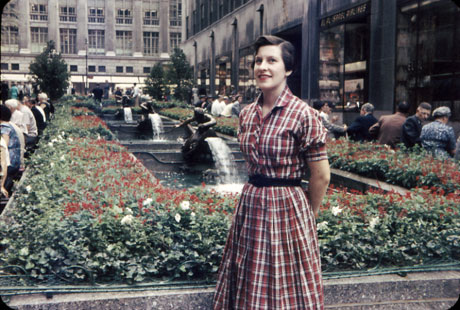 Mom at the Rockefeller Center pedestrian mall and fountains in 57.