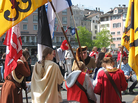 The guild members begin to gather for the parade.